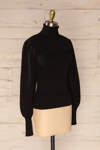 Moino Black Puffy Sleeve Turtleneck | La petite garçonne side view
