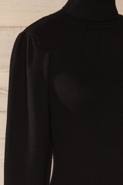 Moino Black Puffy Sleeve Turtleneck | La petite garçonne side close-up