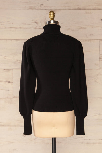 Moino Black Puffy Sleeve Turtleneck | La petite garçonne back view