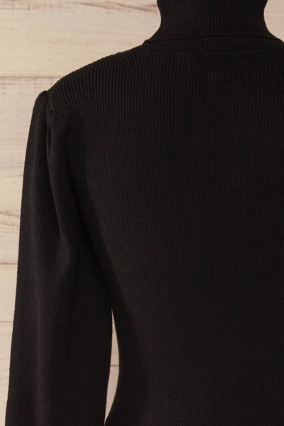 Moino Black Puffy Sleeve Turtleneck | La petite garçonne back close-up