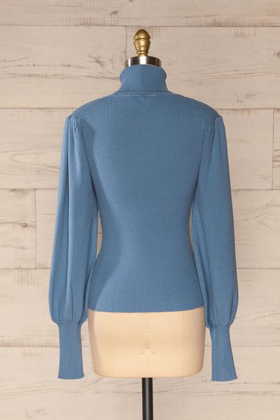 Moino Blue Puffy Sleeve Turtleneck | La petite garçonne back view