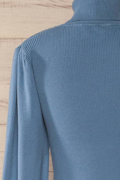 Moino Blue Puffy Sleeve Turtleneck | La petite garçonne back close-up