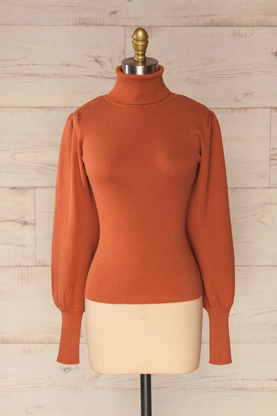 Moino Clay Orange Puffy Sleeve Turtleneck | La petite garçonne front view