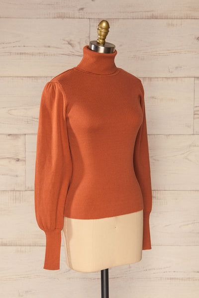 Moino Clay Orange Puffy Sleeve Turtleneck | La petite garçonne side view