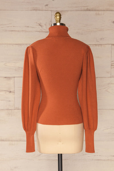 Moino Clay Orange Puffy Sleeve Turtleneck | La petite garçonne back view