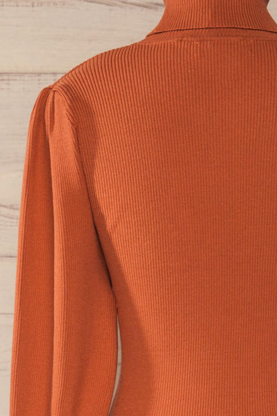 Moino Clay Orange Puffy Sleeve Turtleneck | La petite garçonne back close-up