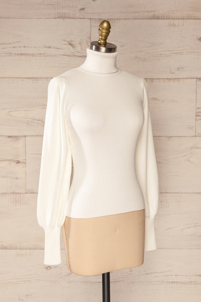 Moino White Puffy Sleeve Turtleneck | La petite garçonne side view