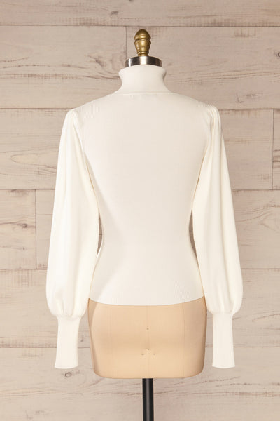 Moino White Puffy Sleeve Turtleneck | La petite garçonne back view
