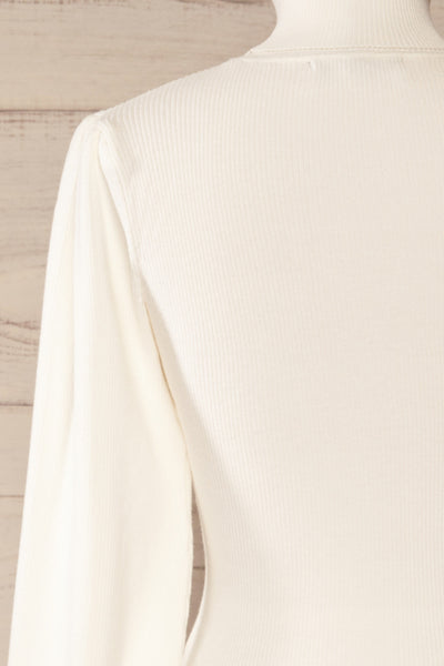 Moino White Puffy Sleeve Turtleneck | La petite garçonne back close-up