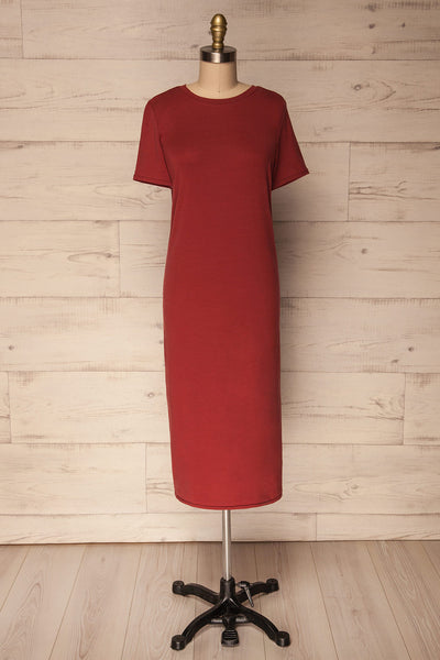 Molesey Brick Red Lounge T-Shirt Dress | La Petite Garçonne