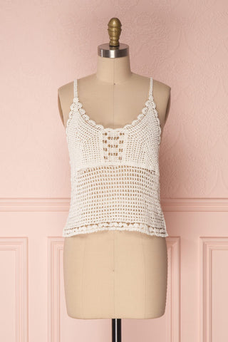 Momoa Ivory Crocheted Crop Tank Top | Boutique 1861 1