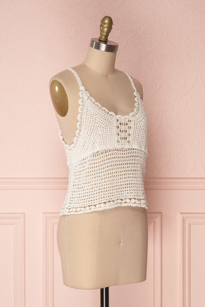 Momoa Ivory Crocheted Crop Tank Top | Boutique 1861 3