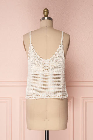 Momoa Ivory Crocheted Crop Tank Top | Boutique 1861 5