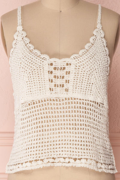 Momoa Ivory Crocheted Crop Tank Top | Boutique 1861 2
