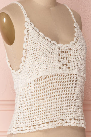 Momoa Ivory Crocheted Crop Tank Top | Boutique 1861 4