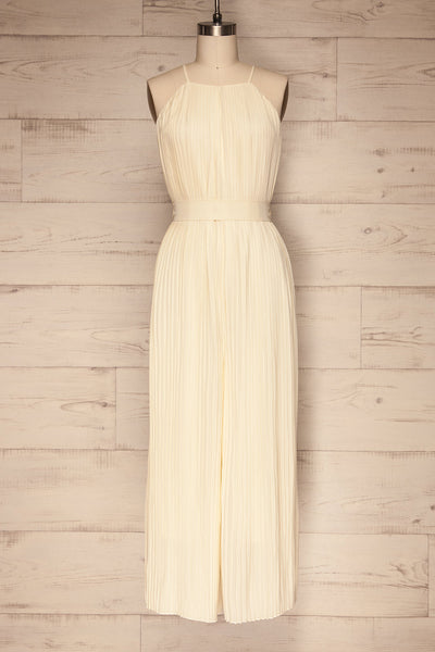 Montijo Cream Pleated Wide Leg Jumpsuit front view | La petite garçonne