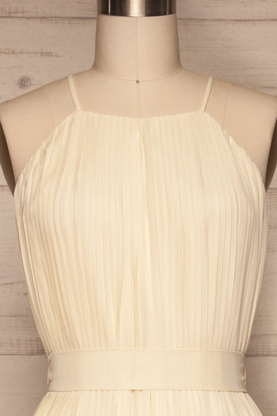 Montijo Cream Pleated Wide Leg Jumpsuit front close up | La petite garçonne