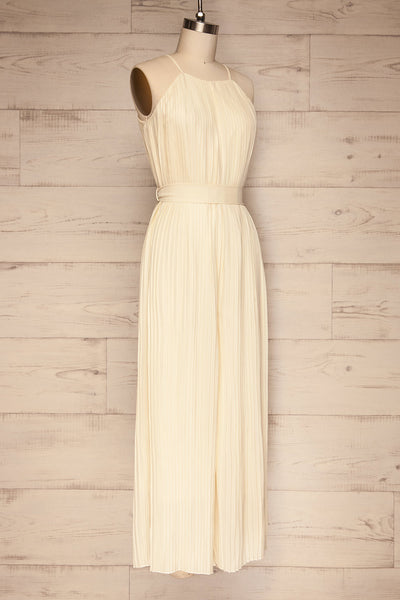 Montijo Cream Pleated Wide Leg Jumpsuit side view | La petite garçonne