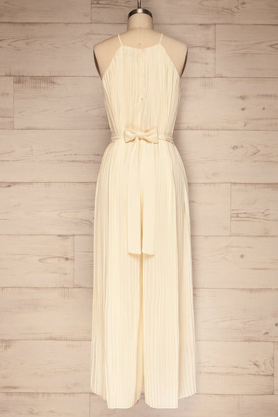 Montijo Cream Pleated Wide Leg Jumpsuit back view | La petite garçonne