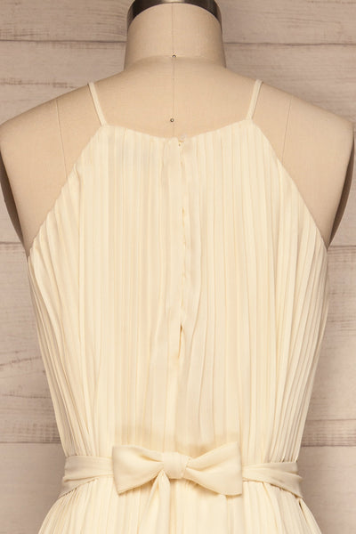 Montijo Cream Pleated Wide Leg Jumpsuit back close up | La petite garçonne