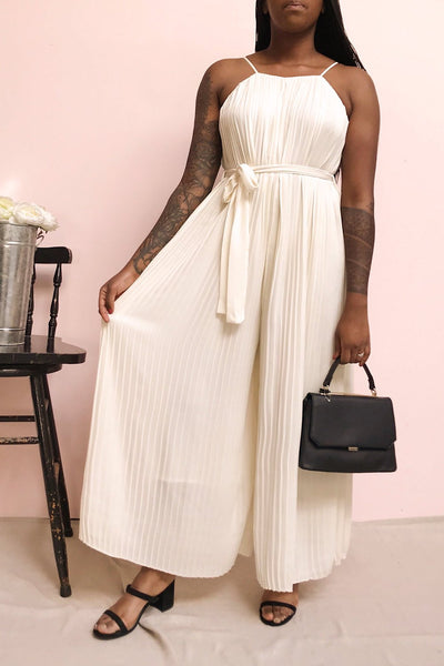 Montijo Cream Pleated Wide Leg Jumpsuit | La petite garçonne model look 1