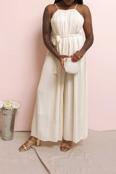 Montijo Cream Pleated Wide Leg Jumpsuit | La petite garçonne model look 2