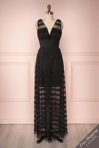 Morono Black Pleated Mesh Gown | Boutique 1861