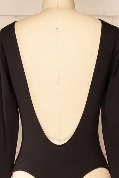 Mosta Black Long Sleeve Bodysuit | La petite garçonne back close-up