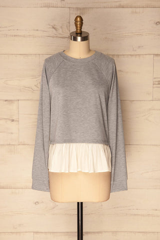 Mottola Brume Grey Pull-Over with White Ruffles | La Petite Garçonne 1