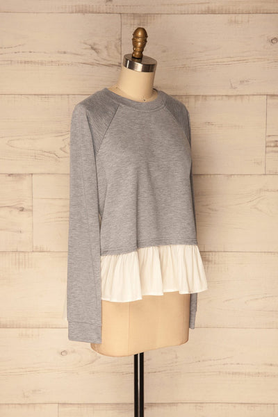 Mottola Brume Grey Pull-Over with White Ruffles | La Petite Garçonne 4