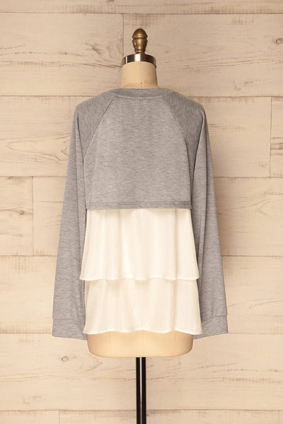 Mottola Brume Grey Pull-Over with White Ruffles | La Petite Garçonne 6