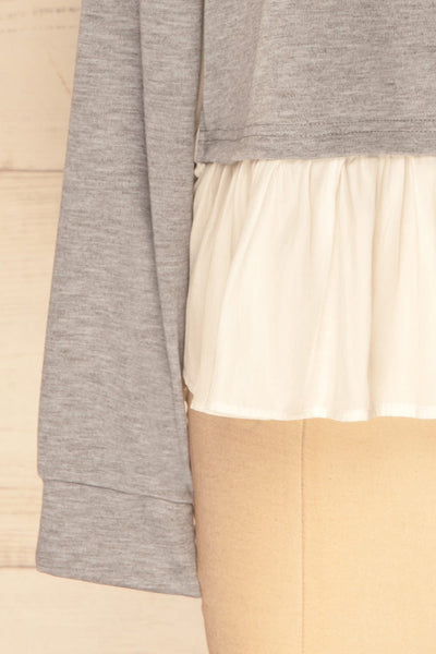 Mottola Brume Grey Pull-Over with White Ruffles | La Petite Garçonne 2