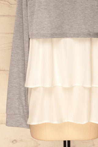 Mottola Brume Grey Pull-Over with White Ruffles | La Petite Garçonne 8