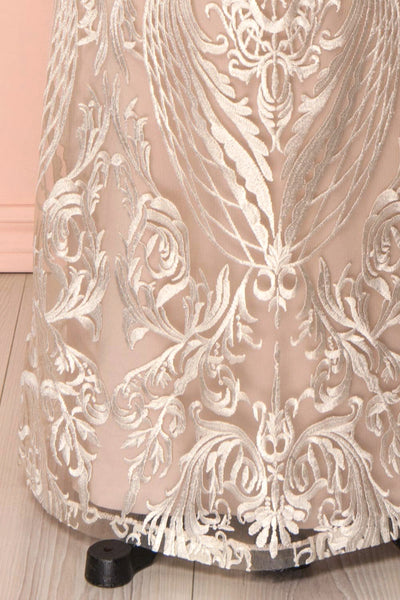 Mouna Pur Beige Embroidered Off-Shoulder Mermaid Gown | Boudoir 1861 bottom close-up