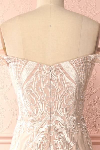 Mouna Pur Beige Embroidered Off-Shoulder Mermaid Gown | Boudoir 1861 back close-up