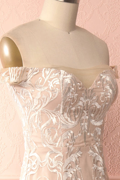Mouna Pur Beige Embroidered Off-Shoulder Mermaid Gown | Boudoir 1861 side close-up