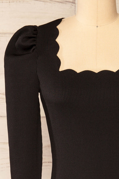 Mragowo Black Ribbed Long Sleeve Top | La petite garçonne front close-up