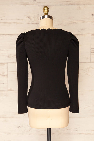 Mragowo Black Ribbed Long Sleeve Top | La petite garçonne back view