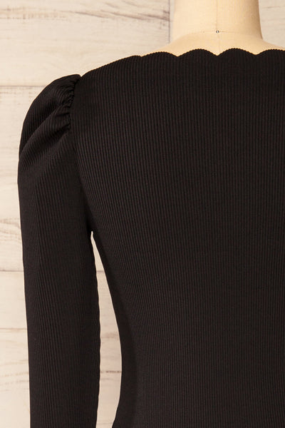 Mragowo Black Ribbed Long Sleeve Top | La petite garçonne back close-up