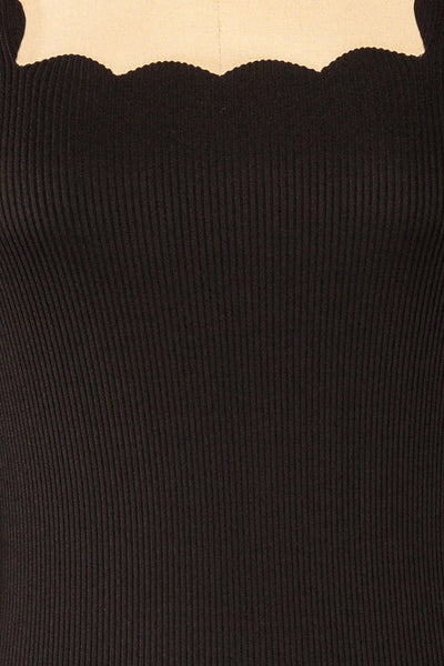 Mragowo Black Ribbed Long Sleeve Top | La petite garçonne fabric