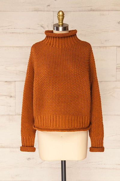 Murcie Orange Turtleneck Knitted Sweater | La petite garçonne front view