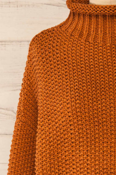 Murcie Orange Turtleneck Knitted Sweater | La petite garçonne front close-up