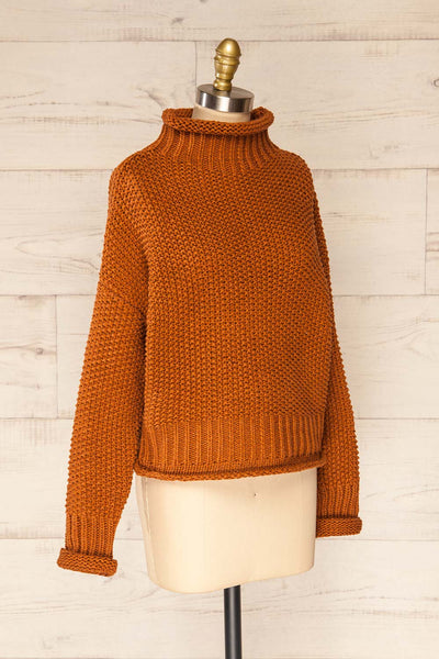 Murcie Orange Turtleneck Knitted Sweater | La petite garçonne side view