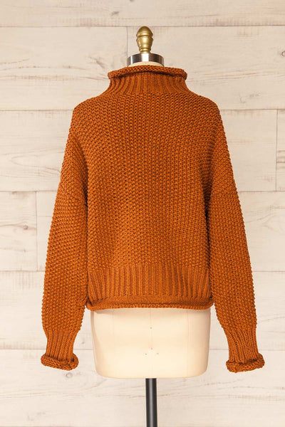 Murcie Orange Turtleneck Knitted Sweater | La petite garçonne back view
