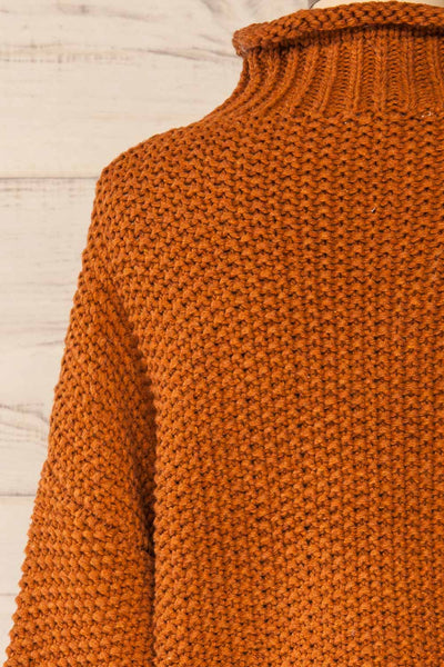 Murcie Orange Turtleneck Knitted Sweater | La petite garçonne back close-up