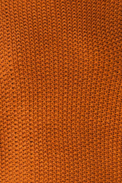 Murcie Orange Turtleneck Knitted Sweater | La petite garçonne fabric