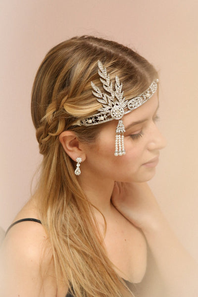 Muriel Gold Rhinestones & Pearls Gatsby Headband | Boutique 1861 on model