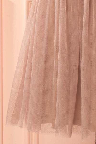 Mya Tan Taupe Lace & Tulle A-Line Dress | Boutique 1861