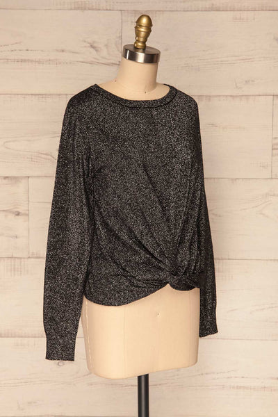 Mychaljo Black Sparkly Long Sleeved Top | La Petite Garçonne side view