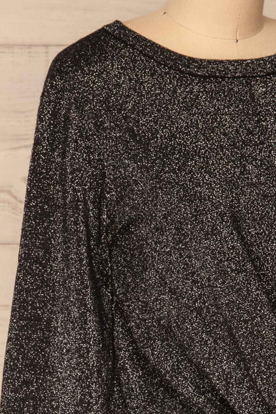Mychaljo Black Sparkly Long Sleeved Top | La Petite Garçonne side close-up